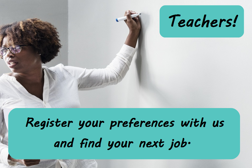 Advert for teachers to register with TeachVac